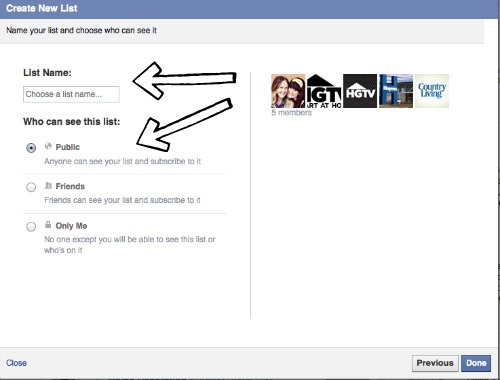 how to make a fb list 5
