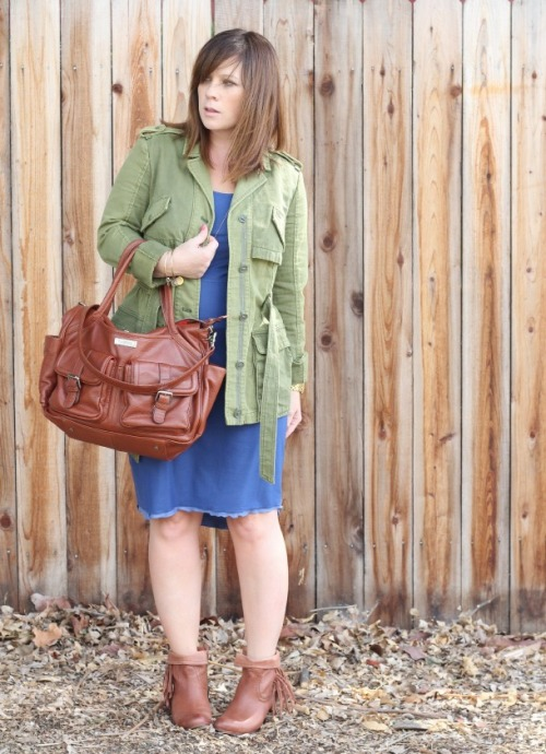 Green Anorak jacket + cognac booties