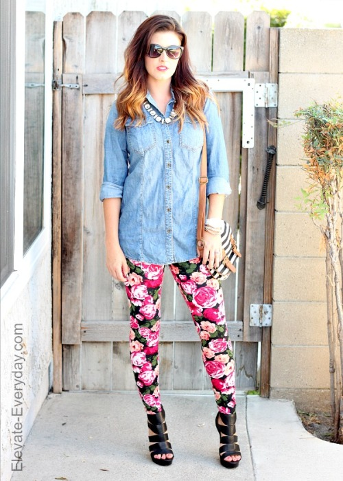 chambray + floral leggings