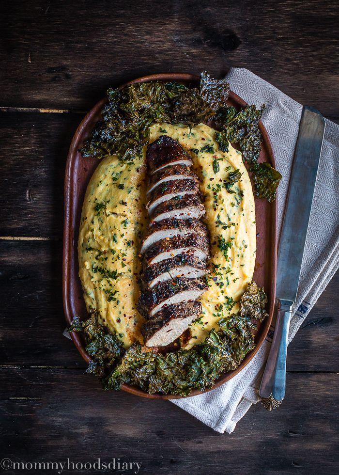 Peppercorn & Garlic Pork Tenderloin with Ricotta Herb Polenta