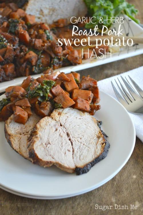 Garlic and Herb Roast Pork Sweet Potato Hash